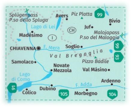 immagine di mappa topografica mappa topografica n.92 - Valchiavenna, Val Bregaglia, Madesimo, Val Masino, Passo dello Spluga, Novate Mezzola, Morbegno, Juf, Avers, Passo del Maloggia, Valle San Giacomo - mappa plastificata, compatibile con sistemi GPS - edizione 2020