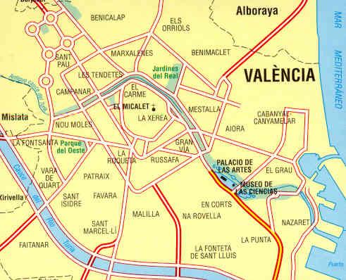 immagine di mappa di città mappa di città n.73 - Valencia - mappa della città - col centro storico, periferia di Valencia, linee e fermate della metropolitana