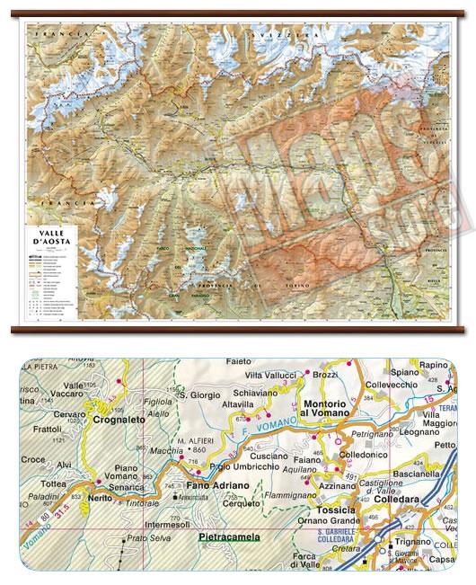 immagine di mappa murale mappa murale Valle d'Aosta - mappa murale plastificata con eleganti aste in legno - cartografia dettagliata ed aggiornata - 99 x 67 cm