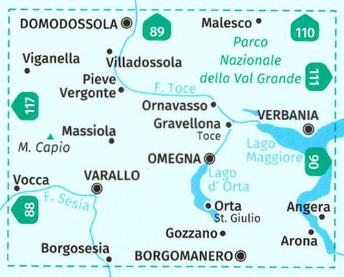 immagine di mappa topografica mappa topografica n.97 - Varallo, Verbania, Lago d'Orta, Parco Nazionale Val Grande, Domodossola, Villadossola, Malesco, Verbania, Omegna, Lago Maggiore, Arona, Borgomanero, Borgosesia, Grondo - mappa plastificata, compatibile con GPS - nuova edizione