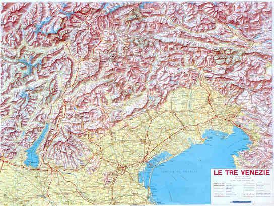 immagine di mappa in rilievo mappa in rilievo Tre Venezie