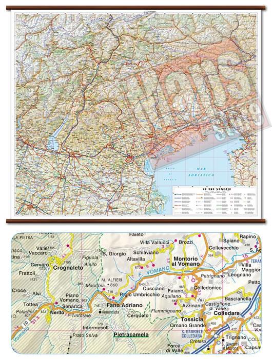 immagine di mappa murale mappa murale Le Tre Venezie - mappa murale plastificata con eleganti aste in legno - cartografia dettagliata ed aggiornata - 86 x 72 cm