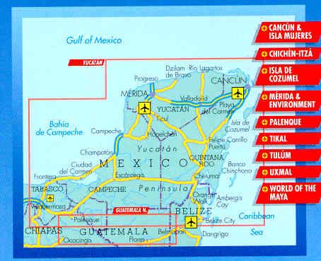 Cartina Yucatan E Chiapas.Mappa Stradale Yucatan Yucatan Plastificata
