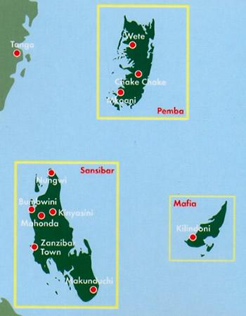 immagine di mappa stradale mappa stradale Zanzibar, Pemba, Mafia - con spiagge, parchi e riserve naturali