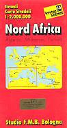 mappa stradale Nord Africa - con Algeria, Marocco, Tunisia, Sud Italia, Spagna e isole - edizione 2013