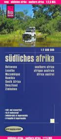 mappa stradale Africa del Sud, con Botswana, Lesotho, Mozambico, Namibia, Sudafrica, Swaziland, Zimbabwe - mappa plastificata