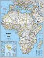 mappa Africa con il Mediterraneo murale politica 91 x 119 cm