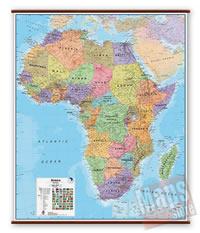 mappa Africa murale plastificata, laminata, scrivibile e lavabile con eleganti aste in legno ganci acciaio cartografia fisica politica 100 x 125 cm
