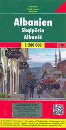 mappa Albania Tirana, Durazzo, Scutari, Elbasan, Coriza, Valona, Fier stradale con luoghi panoramici, parchi e riserve naturali 2014