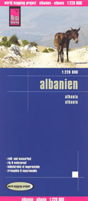 mappa stradale Albania - con Tirana, Scutari, Durazzo, Elbasan, Ksamil, Himare, Valona, Malësi e Madhe, Saranda, Monte Korab, Coriza - Mappa Plastificata
