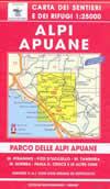 mappa 101/102 Alpi Apuane, M. Pisanino, Sumbra, Massa, Carrara, Marina di Pietrasanta, Tambura, P.zo d'Uccello, Pania d. Croce e altre cime