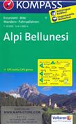 mappa n.77 Alpi Bellunesi, Alleghe, Rocca Piétore, Monte Civetta, Valle d'Ampezzo, Pieve di Cadore, Antelao, Longarone, Ponte Alpi, Farra d'Alpago, Passo Duran, Agordo, Rivamonte, M. Pizzocco, S. Giustina, Trichiana, Belluno, Schiara plastificata, compatibile con GPS