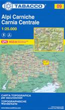 mappa n.09 Alpi Carniche, Carnia Arvenis, Sernio, Arta, Paularo, Ovaro, Ravascletto, Zuglio, Timau, Collina, Rigolato, Crostis, Zermula compatibile con GPS