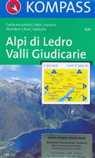 mappa n.071 Alpi di Ledro, Valli Giudicarie Riva del Garda, Monte Baldo, Arco, Malcesine, Gargnano, Lago d'Idro, Storo, Val Daone, Tione Trento, Fiavè, Dro con sentieri CAI, percorsi MTB, vie ferrate, parchi e riserve naturali