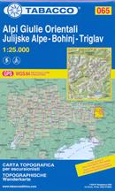 mappa n.065 Alpi Giulie Orientali, Bohinj, Triglav, Kal, Fusine, Gora, Mangart, Lepena, Ukanc, Trenta compatibile con GPS 2016