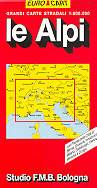 mappa stradale Le Alpi, Nord Italia, Svizzera, Austria, Germania Sud, Francia Est, Slovenia, Croazia - edizione 2013