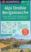 mappa n.104 Alpi Orobie Bergamasche, Valle Brembana, Seriana, Sondrio, Morbegno, Foppolo, San Pellegrino Terme, Bergamo, Monte Isola, Lago d'Iseo, Lovere con sentieri CAI, percorsi panoramici e parchi naturali plastificata, compatibile GPS 2020