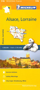 mappa n. 516 Alsazia, Lorena / Alsace, Lorraine con Strasbourg Strasburgo, Saverne, Molsheim, Haguenau, Wissembourg, Selestat, Ribeauville, Colmar, Guebwiller, Thann, Mulhouse, Altkirch, Basel, Epinal, Saint Dié des Vosges, Luneville, Nancy, Neufchâteau, Toul, Bar le Duc, Commercy, Metz, Verdun, Briey, Thionville, Boulay Moselle, Forbach, Château Salins, Sarreguemines, Sarrebourg stradale stazioni di servizio e autovelox