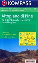 mappa n.075 Altopiano di Piné Val Cembra, Mocheni, Passo Manghen, Mezzolombardo, Trento, Sasso Rotto compatibile con GPS + panoramica