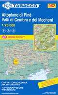 mappa n.062 Altopiano di Pinè, Valli Cembra e dei Mocheni con Trento, La Marzola, Caldonazzo, Levico Terme, M. Panarotta, S. Orsola Baselga Pine, Bedollo, Sover, Valfloriana, Salorno compatibile GPS