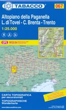 mappa n.067 Altopiano Paganella, Val di Tovel, Flavona, C. Brenta, Trento Spormaggiore, Cavedago, Mezzolombardo, Ton, Roccapiana, Fai, Andalo, Molveno, Lavis, Terlago, Lago Tovel con reticolo UTM compatibile sistemi GPS 2019