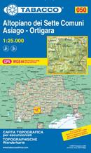 mappa n.050 Altopiano dei Sette Comuni con Asiago, Gallio, Roana, Lusiana, Val d' Assa, Enego reticolo UTM compatibile sistemi GPS 2021