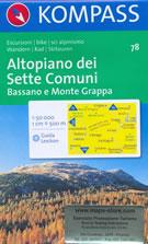 mappa n.78 Altopiano dei Sette Comuni, Bassano del Grappa, Monte M. Lozze, Passo di Vezzena, Verena, Arsiero, Caltrano, Grigno, Valstagna con sentieri CAI, percorsi MTB, vie ferrate e funivie