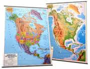 mappa America del (Canada, Stati Uniti/USA, Messico) murale con aste cartografia fisica e politica (stampata fronte/retro) 102 x 140 cm