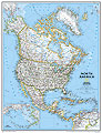 mappa America del (Canada, Stati Uniti, Messico) murale politica 91 x 119 cm