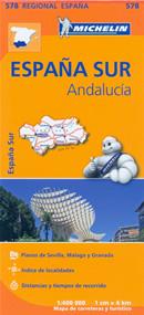 mappa n.578 Andalusia / Andalucia (Spagna) con Siviglia, Marbella, Malaga, Granada, Almeria, Cordoba, Cadiz, Huelva 2015