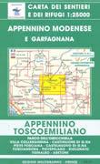 mappa n.18 Appennino Modenese e Garfagnana con Parco dell'Orecchiella, Villa Collemandina, Castiglione di G.na, Pieve Fosciana, Castelnuovo Fosciandora, Pievepelago, Riolunato, Fiumalbo, Abetone
