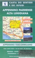 mappa n.9 Appennino Parmense e Alta Lunigiana con Passi dei Cento Croci, Due Santi Brattello, Bedonia, Borgo Val di Taro, Pontremoli, Varese Ligure