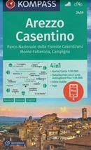 mappa n.2459 Arezzo, Casentino, Parco Nazionale Foreste Casentinesi, Monte Falterona, Campigna, Cortona, Bibbiena, S. Savino, Loro Ciuffenna, Chiusi Verna, Anghiari, Castiglion Fiorentino, Sansepolcro plastificata, compatibile con GPS 2020