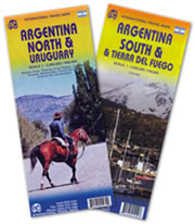 mappa Argentina e set di 2 mappe con Buenos Aires, Cordoba, Rosario, Montevideo, Punta del Este, Colonia Sacramento, Patagonia, Tierra Fuego/Terra Fuoco, Ushuaia, Uruguay