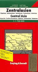 mappa stradale Asia Centrale, Kyrgyzstan, Southern Kazakhstan, Tajikistan, Turkmenistan, Uzbekistan
