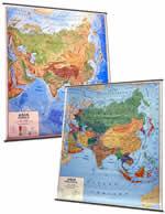 mappa Asia murale con aste cartografia fisica e politica (stampata fronte/retro) 128 x 102 cm