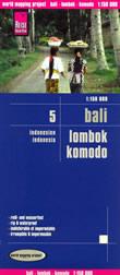 mappa Bali, Lombok e Komodo con Denpasar, Nusa Penida, Mataram, Praya, Selong impermeabile antistrappo 2019