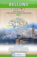 mappa Belluno di città con Cortina d'Ampezzo, Ponte Alpi 2018