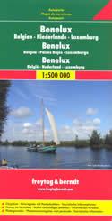 mappa stradale Benelux - Belgio, Paesi Bassi, Lussemburgo
