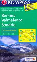mappa n.93 Bernina, Valmalenco, Sondrio, St. Moritz, Valtellina, Silvaplana, Poschiavo, Brusio, Teglio, Parco Orobie Valtellinesi plastificata, compatibile con GPS 2017