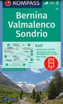 mappa n.93 Bernina, Valmalenco, Sondrio, St. Moritz, Valtellina, Silvaplana, Poschiavo, Brusio, Teglio, Parco Orobie Valtellinesi plastificata, compatibile con GPS 2020