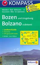 mappa n.54 Bolzano/Bozen, Caldaro, Vigo di Fassa, Alpe Siusi, Terlano, Castelrotto, Canazei, Val Gardena, Selva, Funes, Sarentino, Merano, Moena plastificata, compatibile con GPS + panoramica