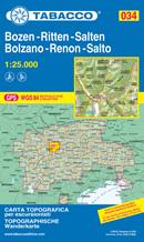 mappa n.034 Bolzano, Renon, Salto / Bozen, Ritten, Salten con reticolo UTM compatibile sistemi GPS 2021