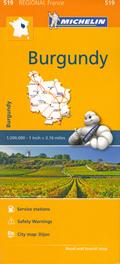 mappa n. 519 Borgogna / Bourgogne Burgundy con Dijon Digione, Côte d'Or, Beaune, Montbard, Chalon sur Saône, Louhans, Mâcon, Charolles, Autun, Château Chinon, Nevers, Cosne Cours Loire, Clamecy, Avallon, Auxerre, Sens stradale stazioni di servizio e autovelox