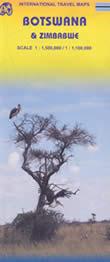 mappa Botswana e Zimbabwe con Gaborone, Harare, Bulawayo, Parco Naturale Great Zimbabwe, Lago Mutirikwi, Cascate Vittoria