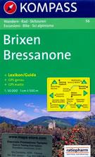 mappa n.56 Bressanone / Brixen, Val Pusteria, Badia, Funes, Sciaves, Valdurna, Racines, Chiusa, Sterzing/Vipiteno, Bruneck/Brunico, Monti Sarentini, Dolomiti compatibile con sistemi GPS