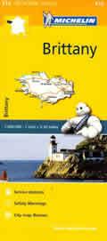mappa n. 512 Bretagna / Bretagne Brittany con Rennes, St Brieuc, Vannes, Dinan, Malo, Fougeres, Lorient, Quimper, Brest, Morlaix, Lannion stradale stazioni di servizio e autovelox 2018