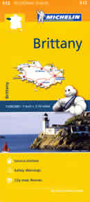 mappa n. 512 Bretagna / Bretagne Brittany con Rennes, St Brieuc, Vannes, Dinan, Malo, Fougeres, Lorient, Quimper, Brest, Morlaix, Lannion stradale stazioni di servizio e autovelox