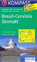 mappa n.87 Breuil Cervinia, Zermatt, Aosta, St. Vincent, Torgnon, Valpelline, Champoluc, Ollomont, Lago di Place Moulin, Monte Rosa, Cervino, Grand Combin, Arolla plastificata, compatibile con GPS 2015