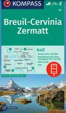 mappa n.87 Breuil Cervinia, Zermatt, Aosta, St. Vincent, Torgnon, Valpelline, Champoluc, Ollomont, Lago di Place Moulin, Monte Rosa, Cervino, Grand Combin, Arolla con sentieri CAI, percorsi panoramici e parchi naturali plastificata, compatibile GPS